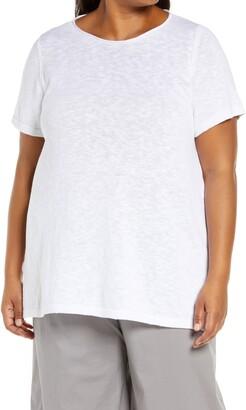 Eileen Fisher Roll Neck Organic Cotton & Linen Short Sleeve Sweater
