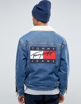 Tommy Jeans Fleece Lined Denim Trucker in Reguar Fit