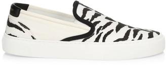 Saint Laurent Venice Zebra-Stripe Canvas Slip-On Sneakers