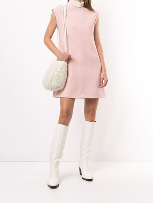 Pre-Owned Ruffled-Neck Shift Dress