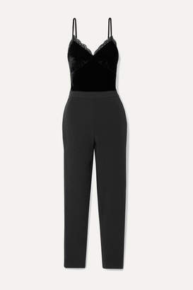 MICHAEL Michael Kors Lace-trimmed Cady And Velvet Jumpsuit - Black