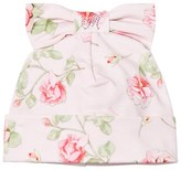 MonnaLisa White Flower Print Jersey Hat with Bow