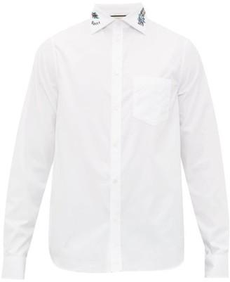 Gucci Dragon-embroidered Cotton Shirt - Mens - White