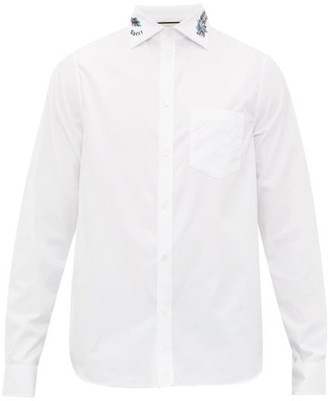 Gucci Dragon-embroidered Cotton Shirt - White