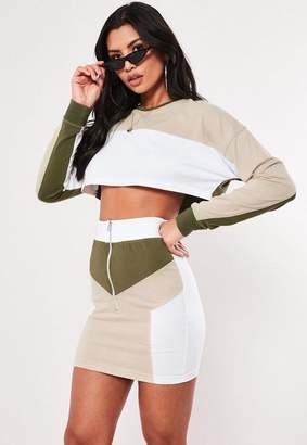 Missguided Khaki Color Block Zip Front Mini Skirt