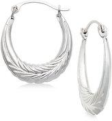 Macy's Chevron Hoop Earrings in 10k White Gold