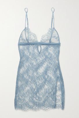 Coco de Mer Lucida Satin-trimmed Stretch-lace Chemise - Light blue