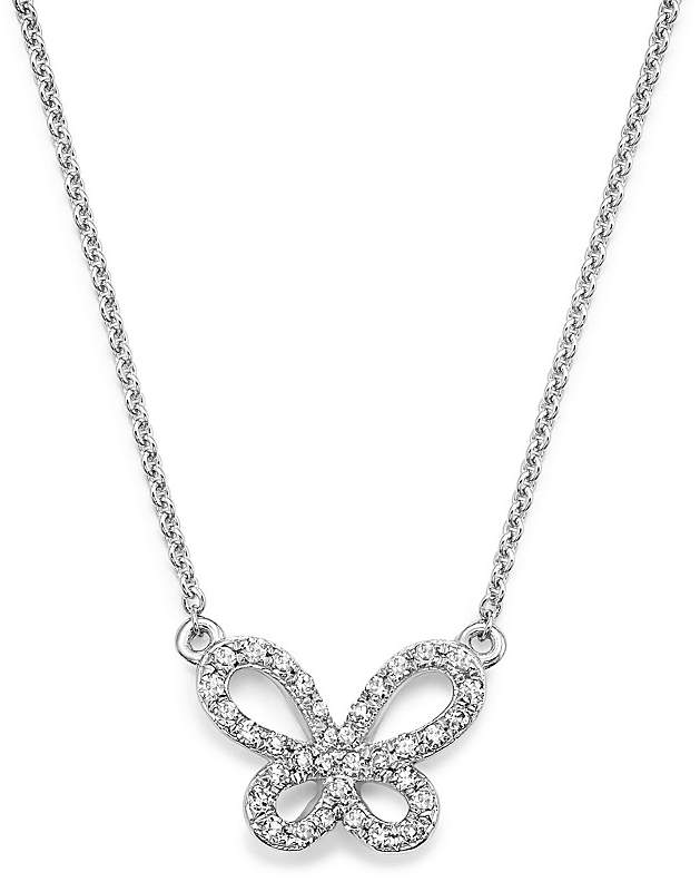 KC Designs 14K White Gold Diamond Butterfly Necklace, 15""