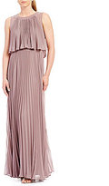 Vera Wang Pleated Chiffon Pop Over Gown