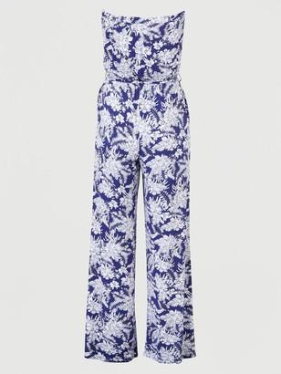 Very Strapless Tie Waist Jumpsuit - Navy Print