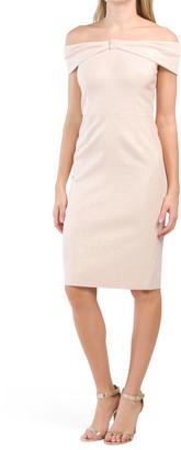 Jacquard Off The Shoulder Dress