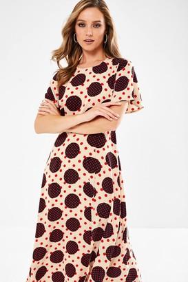 Iclothing Quinn Spot Print Midaxi Dress in Cream