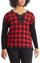 Chaps Plus Size Buffalo Check Sweater