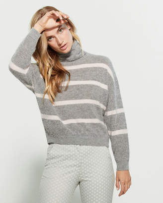 Peserico Striped Wool-Blend Turtleneck Sweater