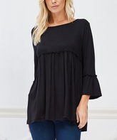 Bellino Black Ruffle Three-Quarter Sleeve Tunic