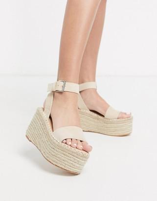 Public Desire Saffy raffia flatform espadrille sandal in beige