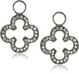 """KC Designs Charmed Life"""" Diamond 14k White Gold Open Clover Ear Charm, Black Finish"""