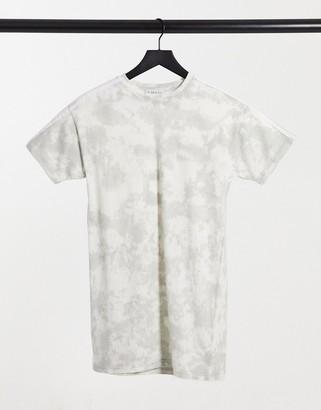 In The Style tie dye oversized t-shirt dress in grey