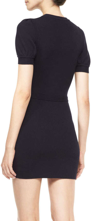 RED Valentino Short-Sleeve Cable-Front Knit Dress