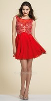 Dave and Johnny Beaded Sheer Fit and Flare Homecoming Dress