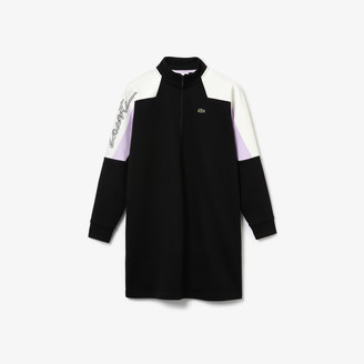 Lacoste Women's LIVE Colorblock Cotton Zip Sweatshirt Dress