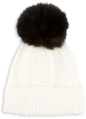 Glamour Puss Contrast Fox Fur Pom-Pom Knit Hat