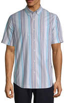 ST. JOHN'S BAY St. John`S Bay Stretch Mens Short Sleeve Striped Button-Front Shirt