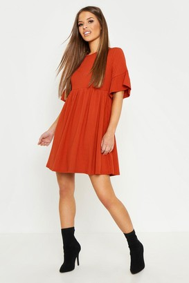 boohoo Petite Ribbed Frill Sleeve Smock Dress