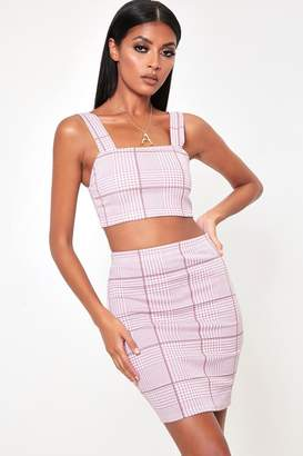 I SAW IT FIRST Pink Check Co Ord Skirt