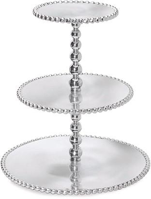Mariposa Pearled 3-Tiered Cupcake Server