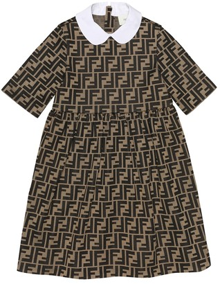 Fendi Kids Logo cotton-blend dress