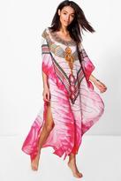 boohoo Emily Embellished Digital Print Maxi Kaftan pink