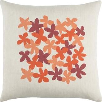 "Emma Gardner Design Flying Colors Little Flower Pillow Cover emma at home by Size: 18"" H x 18"" W x 0.25"" D, Color: Orange"