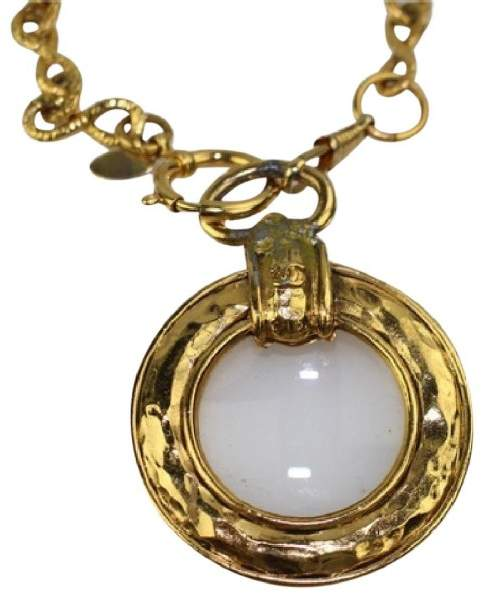 Chanel Gold Tone Hardware Charm Magnifiier Loop Necklace