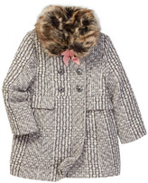 Jessica Simpson Double Breasted Plaid Jacket with Faux Fur & Bow (Little Girls)