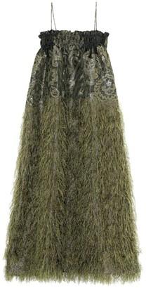 Ganni Feather Trim Cotton Maxi Dress
