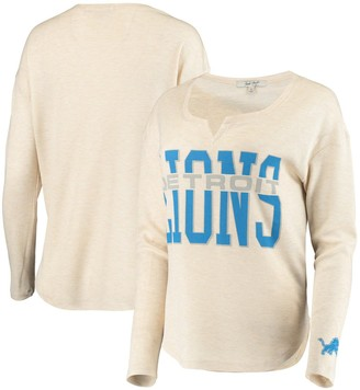 Women's Junk Food Oatmeal Detroit Lions Sunday Tri-Blend Thermal Long Sleeve T-Shirt
