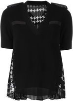 Sacai houndstooth panel knitted top - women - Cotton/Polyester/Cupro - 3