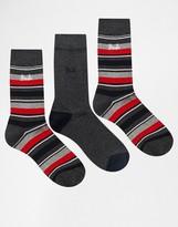 Pringle Highland Stripe Socks In 3 Pack Grey