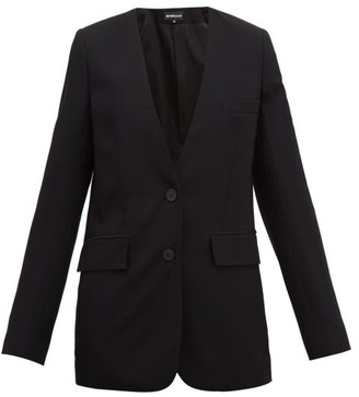 Ann Demeulemeester Collarless Single-breasted Wool-twill Blazer - Black