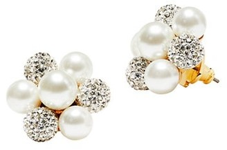 Kate Spade Glass Pearl & Pave Cluster Stud Earrings