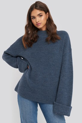 NA-KD Ribbed Knitted Turtleneck Sweater Blue