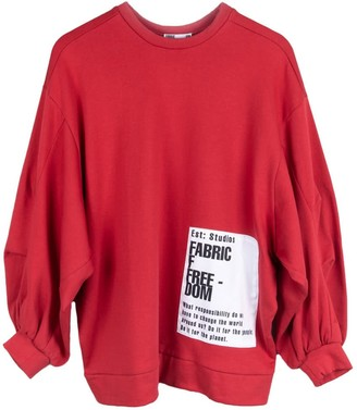 Fanfare Label Organic Cotton Oversized Jumper With Patches, Red