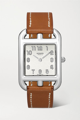 HERMÈS TIMEPIECES Cape Cod 23mm Small Stainless Steel And Leather Watch - Silver
