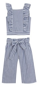 Rare Editions Big Girls Stripe Pant Set, 2 Piece