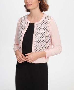 DKNY Three-Quarter-Sleeve Lace Front Cardigan