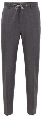 HUGO BOSS Slim-fit trousers in stretch wool with drawstring waist