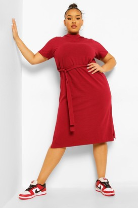 boohoo Plus Self Belted High Neck Midi Dress