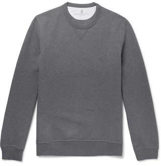 Brunello Cucinelli Melange Fleece-Back Stretch-Cotton Jersey Sweatshirt