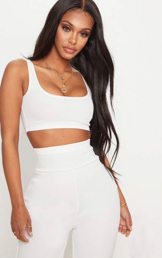 PrettyLittleThing Shape White Bandage Scoop Neck Crop Top